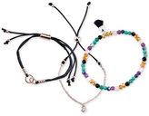 Unwritten 3-Pc. Set Two-Tone Crystal, Cord & Bead Adjustable Bracelets