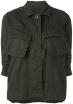 Sacai crinkled effect military jacket - women - Cotton - 1
