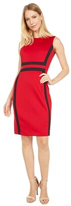 Calvin Klein Color-Block Sheath Dress (Red/Black) Women's Dress