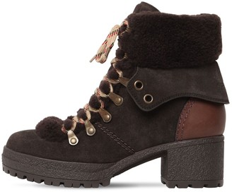 See by Chloe 40mm Eileen Suede & Fur Ankle Boots