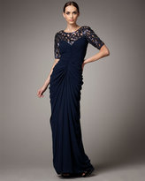 Half-Sleeve Latticework Gown