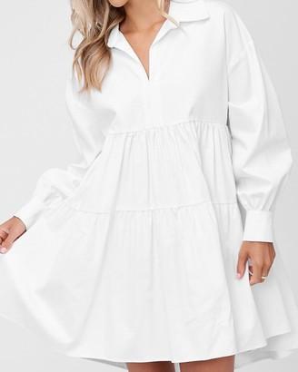 Express En Saison Long Sleeve Poplin Mini Dress