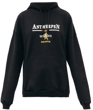 Vetements Antwerpen Logo-print Cotton Hooded Sweatshirt - Black