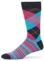 Saks Fifth Avenue Patterned Stretch Cotton-Blend Socks