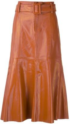 Eva Leather Flared Skirt