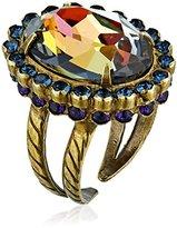"Sorrelli Aurora Sky"" Glamorous Oval-Cut Crystal Dark Multi-Adjustable Ring, Size 7-9"