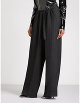 Ann Demeulemeester Paper bag-waist wide high-rise crepe trousers