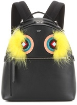 Fendi Snakeskin and fox fur-trimmed leather backpack