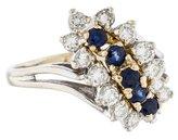 Ring 14K Diamond & Sapphire Cocktail