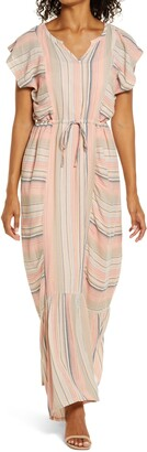 Caslon Flutter Sleeve Tie Waist Maxi Dress
