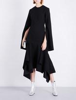 SOLACE London Dominique flared asymmetric-hem crepe dress
