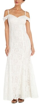 Nightway Lace Cutout-Back Cold-Shoulder Gown