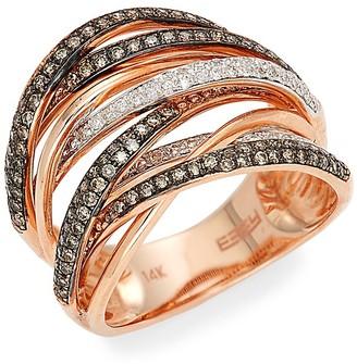 Effy Black Rhodium-Plated 14K Rose Gold, 0.74 TCW White Espresso Diamond Ring