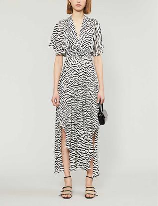 Maje Rachelle zebra print crepe midi dress