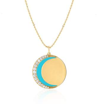 Ef Collection 14ct Yellow Gold And Diamond Enamel Moon Necklace