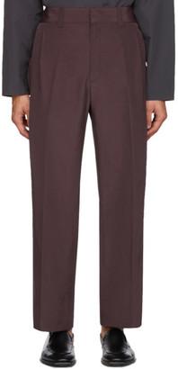 Salvatore Ferragamo Burgundy Linen Gabardine Trousers