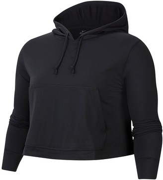 Nike Yoga Jersey Crop Hoodie (Plus Size)