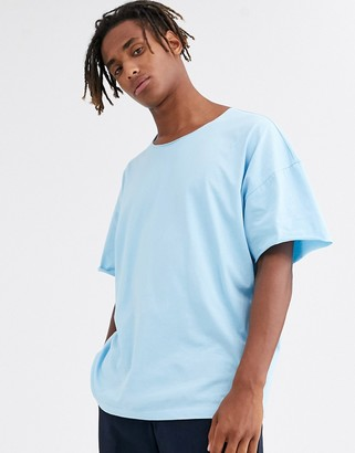 Asos DESIGN oversized t-shirt with raw neck in blue