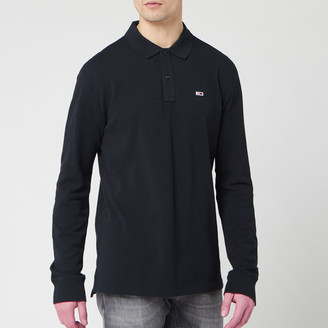 Tommy Jeans Men's Long Sleeved Polo Shirt - Tommy Black - S