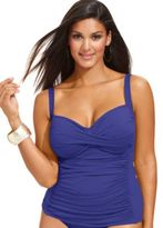 LaBlanca La Blanca Plus Size Twist-Front Ruched Tankini Top
