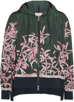 Moncler Comte Hooded Floral-print Shell Jacket - Emerald