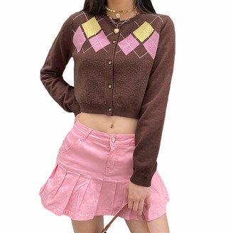 Femereina Women Sweater Knitted Cardigan Argyle Pattern Long Sleeve Button Down England Style Sweater Tops (Coffee M)