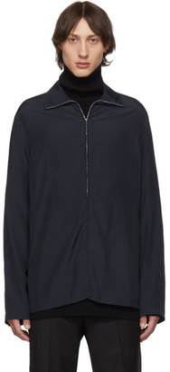 Lemaire Blue High Neck Zipped Sweater