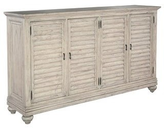 Overstock Pricing and Options Hekman Furniture Antique White Wood 4-cabinet Storage Media Console