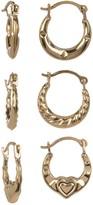 Candela 10K Yellow Gold 3-Pair Petite Hoop Earrings Set
