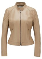 HUGO BOSS - Regular Fit Jacket In Lamb Leather With Stand Collar - Brown