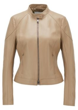 HUGO BOSS Regular Fit Jacket In Lamb Leather With Stand Collar - Brown
