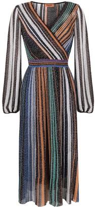 Missoni Striped Pleated Metallic Knit Dress