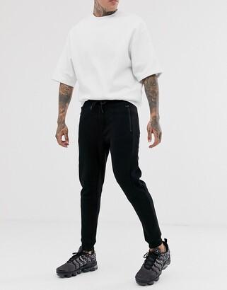 Bershka jersey waffle joggers in black