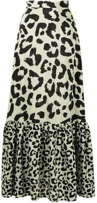 Être Cécile Leopard-Print Silk Maxi Skirt