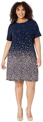 MICHAEL Michael Kors Size Short Sleeve Ombre Bloom Dress (Coral Peach) Women's Dress