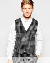 Selected Homme Exclusive Tonal Check Tuxedo Waistcoat In Skinny Fit