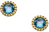 Athena Designs Gold and Blue CZ Stud Earrings