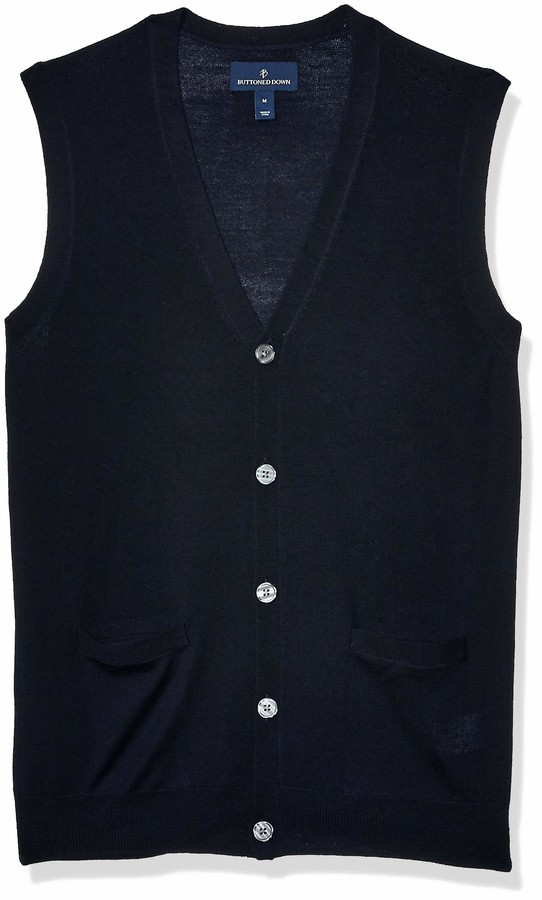 Amazon Brand Men's Italian Merino Wool Lightweight Cashwool Button Front Sweater Vest