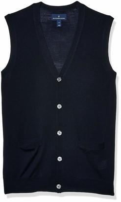 Buttoned Down Italian Merino Wool Lightweight Cashwool Button-front Vest Sweater
