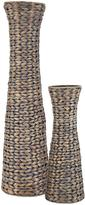 Very Set of 2 Water Hyacinth Conical Shaped Vases - Grey