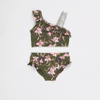 River Island Mini girls Khaki floral one shoulder bikini