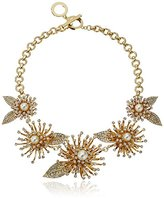 """Anne Klein Into The Garden"""" Gold-Tone Pearl and Crystal Flower Frontal Necklace, 16"""""""