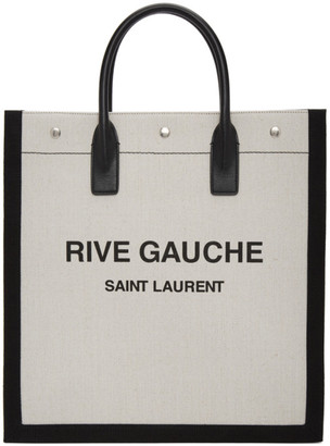 Saint Laurent Off-White and Black Rive Gauche Shopping Tote
