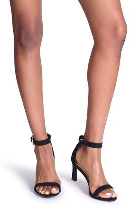 Barely There Linzi Kira Black Suede Small Heeled Sandals