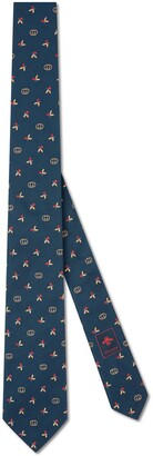Gucci Silk tie with flowers and Interlocking G