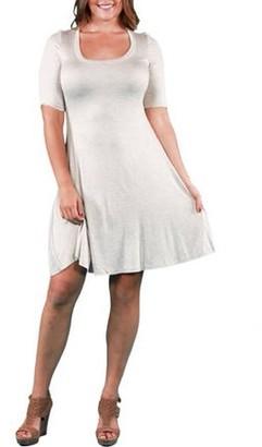24/7 Comfort Apparel Women's Plus Elbow-Sleeve Dress