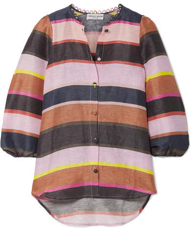 Apiece Apart Laila Striped Linen And Silk-blend Top - Pink