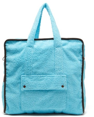 Gabriel For Sach - Towel Leather-trimmed Cotton-terry Tote Bag - Blue