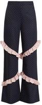Huishan Zhang Elisa High-rise Ruffle-trimmed Trousers - Womens - Blue Multi