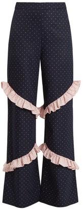 Huishan Zhang Elisa High-rise Ruffle-trimmed Trousers - Blue Multi